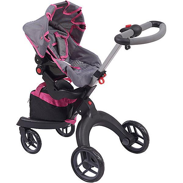 Коляска для кукол Buggy Boom Aurora, розово-сераяТранспорт и коляски для кукол<br>Характеристики товара:<br> <br>• материал: полиэстер, пластик, металл<br>• в комплекте: люлька-переноска, сумка<br>• для кукол до 45 см<br>• съемные люлька-переноска и сумка<br>• система безопасности от случайного складывания<br>• ремень безопасности<br>• регулируемая на 54-80 см ручка<br>• складной капюшон<br>• передние поворотные на 360 градусов колеса<br>• установка сиденья к себе/от себя<br><br>Кукольная прогулочная коляска-трансформер легко превращается из сидячей в спальную. Выполнена из облегченных материалов. Конструкция прочна и устойчива к повреждениям, материал легко моется. Поставляется в фирменной коробке с ручкой.