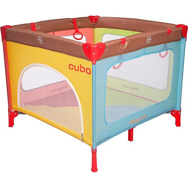 Манеж Baby Care Cubo, разноцветныйДетские манежи<br>Характеристики:<br><br>• материал: металл, пластик, текстиль<br>• в комплекте: манеж, сумка для переноски<br>• особенности: металлическая рама, боковой лаз на молнии, замок-фиксатор против произвольного складывания, мягкие борта<br>• максимальная нагрузка: 15 кг<br>• вес манежа: 8,27 кг<br>• размер в разложенном виде: 93х93х76 см<br>• высота от матраса до борта: 62 см <br><br>Манеж быстро устанавливается в любом удобном месте дома и на природе. Не имеет острых углов, ножки устойчиво стоят на поверхности. Бортики с сетками позволяют родителю следить за малышом со всех сторон. Благодаря кольцам-ручкам ребенок может сам вставать, также на них можно повесить игрушки. Манеж складывается в сумку и занимает мало места.