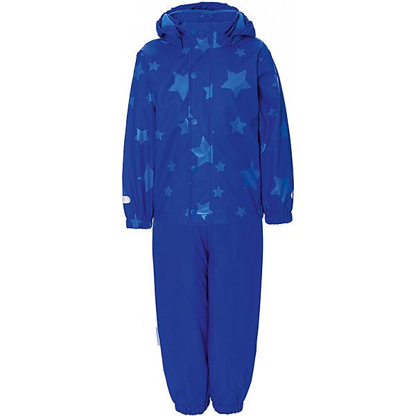 Комплект:куртка, брюки Ticket To HeavenВерхняя одежда<br>Характеристики товара:<br><br>• состав ткани: 100% полиуретан<br>• подкладка: 100% полиэстер<br>• сезон: демисезон<br>• водонепроницаемость: 8000 мм<br>• швы проклеены<br>• брюки на лямках в размерах 80-110<br>• обычные брюки в размерах 116-140<br>• съёмные штрипки<br>• светоотражающие детали<br>• страна бренда: Дания<br><br>Непромокаемый комплект обеспечивает удобство при носке и надёжную защиту от влаги. Легко надевается, а свободный крой не сковывает движений. Внутри тёплая флисовая подкладка. Эластичные подтяжки регулируются, позволяя подогнать комфортную посадку. Рукава и брючины фиксируются и не перекручиваются.