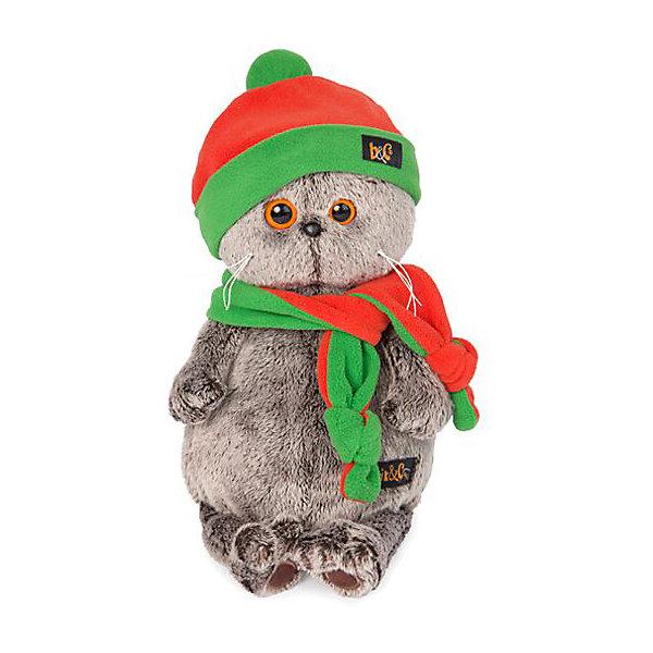 Budi Basa Мягкая игрушка Budi Basa Кот Басик в оранжево-зеленой шапке и шарфике, 19 см