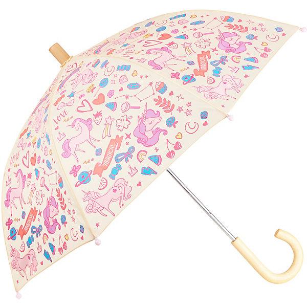 Зонт Hatley для девочкиАксессуары<br>Характеристики товара:<br><br>• материал: 100% полиэстер<br>• страна бренда: Канада<br><br>Зонт-трость защищает от дождя и дополнен удобной загнутой ручкой. Конструкция очень прочная, благодаря чему изделие нелегко сломать. Концы спиц прикрыты безопасными наконечниками. Украшен рисунком.