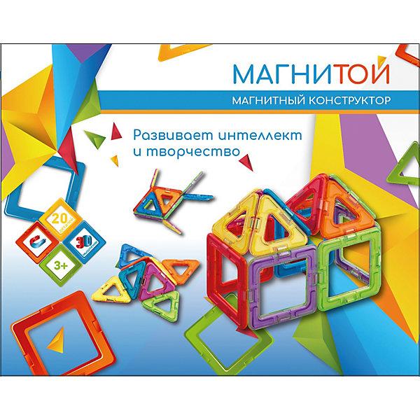 Магнитой Магнитный конструктор «Магнитой», 12 квадратов (6 без окна), 8 треугольников