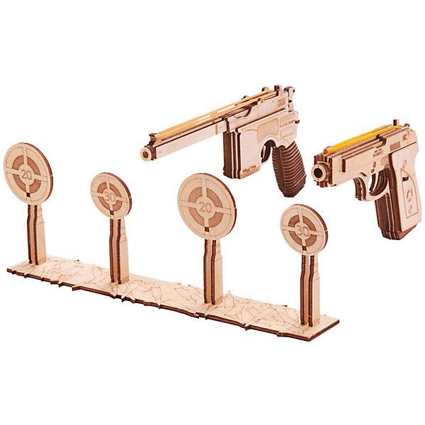 Механический 3D-пазл из дерева Wood Trick Набор пистолетов с мишенью3D пазлы<br>Характеристики:<br><br>• материал: дерево<br>• количество деталей: 125<br>• в комплекте: иллюстрированная инструкция, заготовки с деталями, парафин, наждачная бумага, канцелярские резинки<br>• уровень сложности: легкий<br>• время сборки: 2,5 часа<br>• страна бренда: Украина<br> <br>В результате сборки, получатся два пистолета разных моделей и тир с мишенями. В качестве патронов используются обычные канцелярские резинки. Пистолеты легко заряжаются и далеко стреляют.<br><br>Выполнены из шлифованной фанеры лазерной обработки. Детали плотно подходят друг другу, поэтому сборка не требует склеивания.