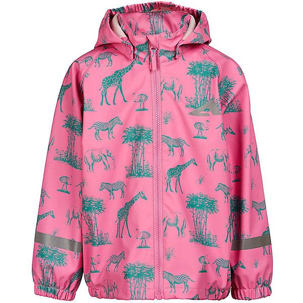 Куртка-дождевик  OLDOS ACTIVE для девочкиВерхняя одежда<br>Характеристики товара:<br><br>• состав ткани: 100% полиэстер, полиуретановое покрытие<br>• сезон: демисезон<br>• застёжка: молния с защитой подбородка<br>• съёмный капюшон на кнопках<br>• запаянные швы<br>• эластичная резинка на манжетах рукавов и по низу изделия<br>• светоотражающие элементы<br>• не содержат ПВХ<br>• страна бренда: Россия<br><br>Куртка-дождевик предназначена для кратковременной носки во время дождливой погоды. Обеспечивает водонепроницаемость, а грязь легко удаляется. На кромке капюшона эластичная резинка для лучшего прилегания. Комфортная посадка и удобный крой не сковывают движений. Декорирована тропическим принтом.