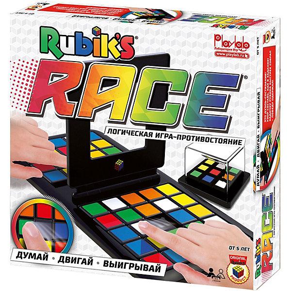 Логическая игра Rubiks RaceГоловоломки - игры<br>Настольная игра на развитие сообразительности, внимания и логики. Игровое поле состоит из 2 полей для игроков с цветными фишками и центральной разделительной рамки. При помощи генератора создается задание из 9 цветных квадратов. Участники должны создать данную комбинацию на своей половине игрового поля, перемещая фишки как в игре в пятнашки. Тот, кто быстрее справится с заданием, захлопывает рамку себе. Если комбинация на ней в точности совпадает с выложенной на игровом поле, то игрок побеждает.<br><br>Характеристики товара:<br><br>• в комплекте: 48 цветных фишек, игровое поле, 9 мини-кубиков и корпус генератора заданий, правила игры<br>• количество игроков: 1-2