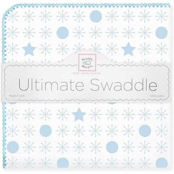 Купить Фланелевая пеленка SwaddleDesigns Stars Blue, 110х110 см, США, голубой/белый, Мужской