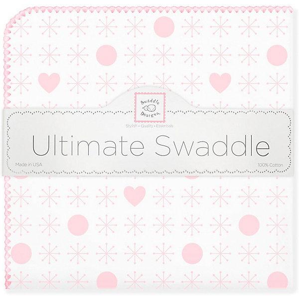 Купить Фланелевая пеленка SwaddleDesigns Hearts Pink, 110х110 см, США, розовый/белый, Женский