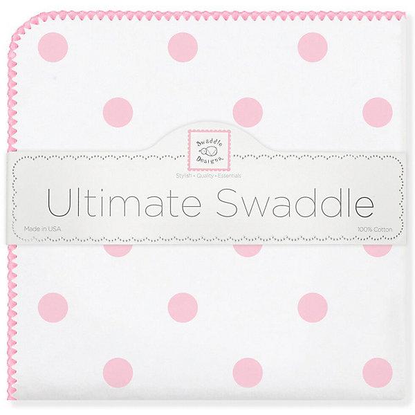 Купить Фланелевая пеленка SwaddleDesigns Big Dots Pink, 110х110 см, США, розовый/белый, Женский
