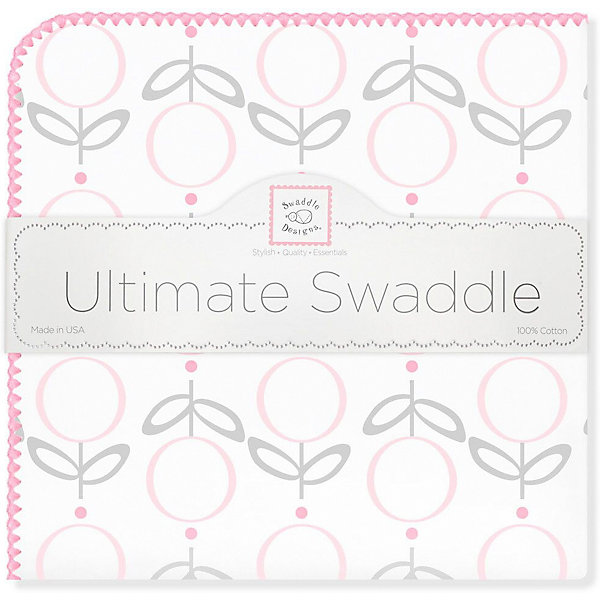 Купить Фланелевая пеленка SwaddleDesigns Lolli Fleur Pink, 110х110 см, США, розовый/белый, Женский