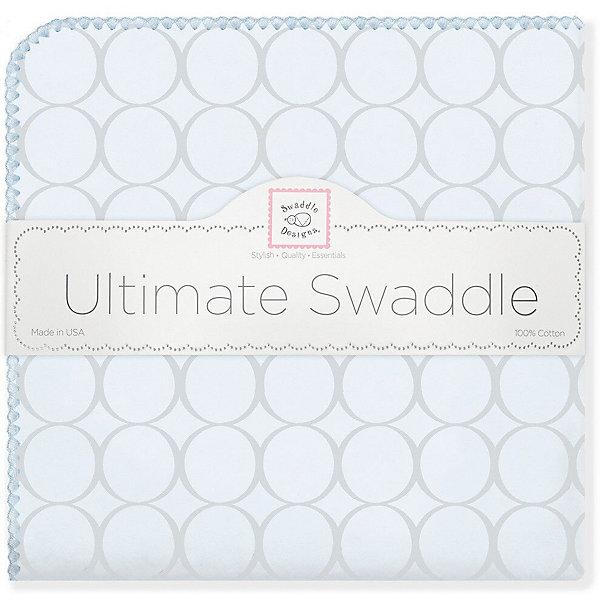 Купить Фланелевая пеленка SwaddleDesigns Blue circles, 110х110 см, США, голубой, Мужской