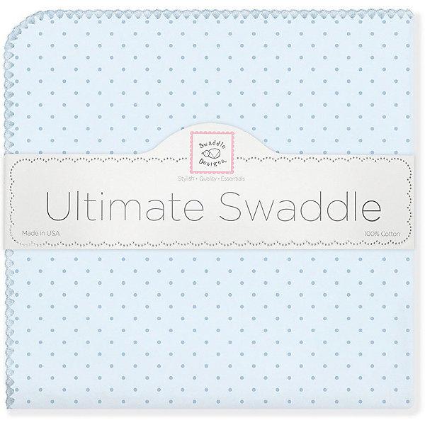 Купить Фланелевая пеленка SwaddleDesigns Blue Dot, 110х110 см, США, голубой, Мужской