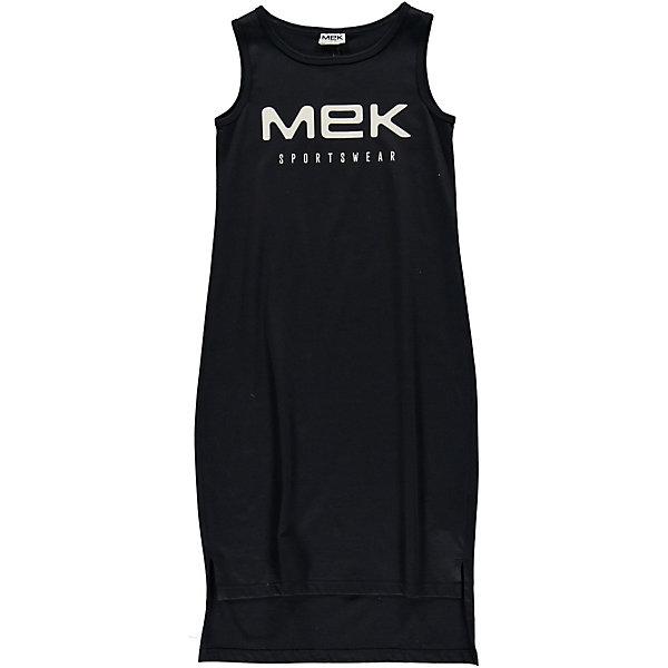 Платье MEK для девочкиПлатья и сарафаны<br>Характеристики товара:<br><br>• состав ткани: 100% хлопок <br>• сезон: лето<br>• застёжка: без застёжки <br>• особенности: спортивное<br>• платье без рукавов<br>• страна бренда: Италия<br><br>Платье с удлинённым подолом. Прорези для рук и горловина дополнены окантовкой. Прямой свободный крой не стесняет движений. Украшено контрастной надписью на груди.