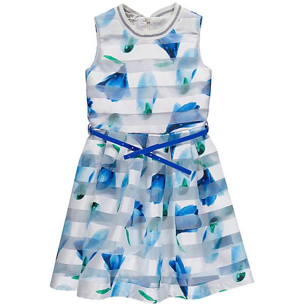 Платье MEK для девочкиПлатья и сарафаны<br>Характеристики товара:<br><br>• состав ткани: 100% полиэстер<br>• сезон: лето<br>• застёжка: скрытая молния на спинке<br>• особенности: нарядное, повседневное<br>• платье без рукавов<br>• страна бренда: Италия<br><br>Платье дополнено эластичной резинкой на горловине. Легко надевается и не стесняет движений. Отрезная юбка в складку. Дополнено контрастным съёмным ремешком. Украшено цветочным принтом.