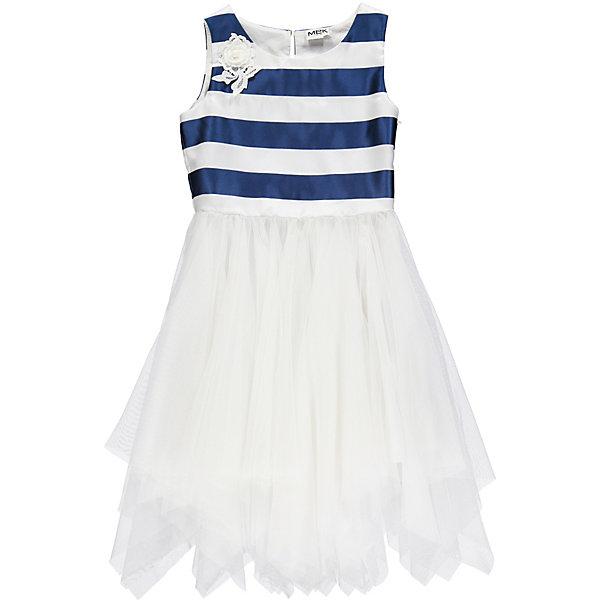 Платье MEK для девочкиПлатья и сарафаны<br>Характеристики товара:<br><br>• состав ткани: 100% полиэстер<br>• сезон: лето<br>• застёжка: пуговичка на спинке<br>• особенности: нарядное<br>• платье без рукавов<br>• страна бренда: Италия<br><br>Платье с круглой горловиной декорировано контрастными полосками в верхней части изделия. Украшено кружевным цветочком. Отрезная юбка в складку с асимметричным подолом. Сделана из сетчатого материала.