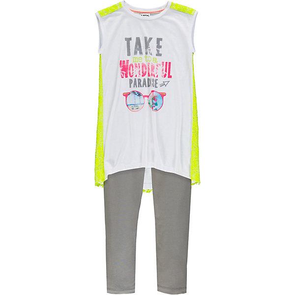 Комплект :футболка,леггинсы MEK для девочкиКомплекты<br>Характеристики товара:<br><br>• состав ткани: 100% хлопок<br>• сезон: лето<br>• застёжка: без застёжки<br>• в комплекте: футболка, легинсы<br>• страна бренда: Италия<br><br>Футболка без рукавов имеет удлинённый крой и контрастную ажурную спинку. Спереди украшена принтом и надписью. Однотонные леггинсы с эластичной резинкой на талии. Не сковывает движений и позволяет телу дышать.