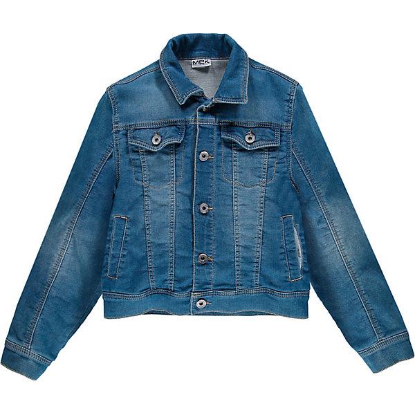 Куртка джинсовая MEK для мальчикаДжинсовая одежда<br>Характеристики товара:<br><br>• состав ткани: 65% хлопок, 33% полиэстер, 2% другие материалы<br>• сезон: демисезон<br>• застёжка: пуговицы<br>• особенности: джинсовая<br>• куртка без капюшона<br>• манжеты рукавов на пуговице<br>• страна бренда: Италия<br><br>Куртка-ветровка предотвращает проникновение ветра внутрь. Отложной воротник. Рукава не перекручиваются. Свободный крой не стесняет движений. Подкладка контрастного цвета. Прорезные и накладные карманы. Спинка украшена надписью. Имеется эффект потёртостей.