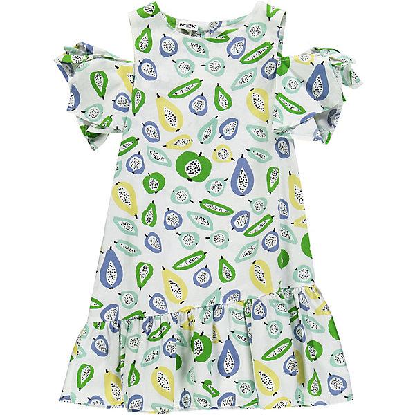Платье MEK для девочкиПлатья и сарафаны<br>Характеристики товара:<br><br>• состав ткани: 100% хлопок<br>• сезон: лето<br>• застёжка: пуговица на спинке<br>• особенности: повседневное, нарядное<br>• платье с коротким рукавом<br>• страна бренда: Италия<br><br>Платье с отрытой линией плеча. Рукава украшены декоративными бантиками. Отрезной подол в складку. Свободная посадка и удобный крой не стесняют движений. Декорировано принтом.