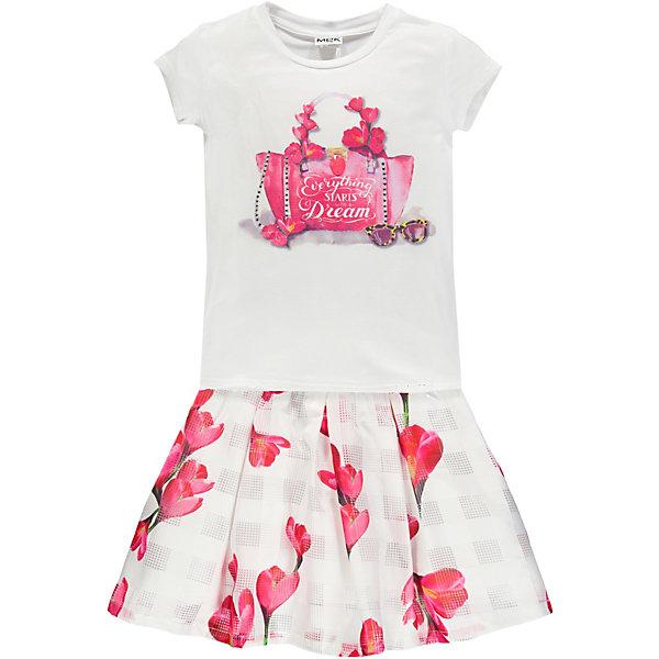Купить Комплект :футболка, юбка MEK для девочки, Китай, розовый, 140, Женский