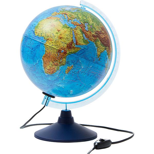 Globen Интерактивный глобус Земли Globen физико-политический с подсветкой, 250мм globen глобус земли globen физико политический с подсветкой 150мм