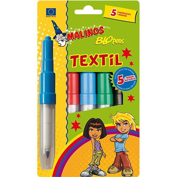 Malinos Фломастер-аэрограф Blopens Textil для текстиля, 5 шт., 1 трафарет