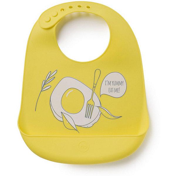 Нагрудник силиконовый Happy Baby, bright yellow, Желтый