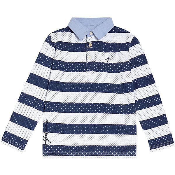 Рубашка поло Original Marines для мальчикаФутболки с длинным рукавом<br>Характеристики:<br><br>• состав ткани: 100% хлопок<br>• сезон: демисезон<br>• застёжка: пуговицы<br>• страна бренда: Италия<br><br>Базовая рубашка с контрастным воротником поло. Прямой комфортный крой, удлинённая спинка. Вышитая надпись бренда и принт на груди. Узор в полоску и мелкий горошек. Натуральная ткань, из которой изготовлена модель, обеспечивает хороший воздухообмен.