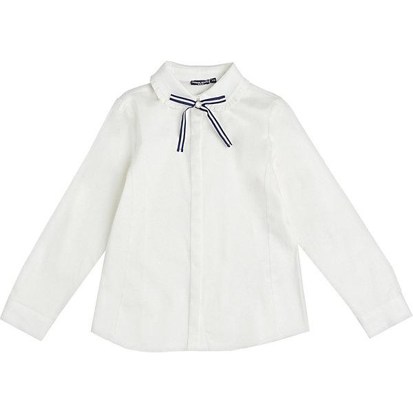 Блузка Original Marines для девочкиБлузки и рубашки<br>Характеристики товара:<br><br>• состав ткани: 97% хлопок, 3% эластан<br>• сезон: круглый год<br>• особенности: школьная, нарядная<br>• манжеты рукавов на пуговице<br>• страна бренда: Италия<br><br>Блузка с длинным рукавом украшена декоративным контрастным бантиком. Отложной воротник с оборками. Материал позволяет телу дышать.