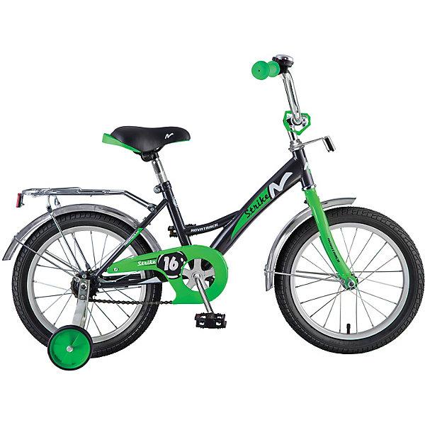 Велосипед Novatrack Strike 16, черно-зеленыйВелосипеды<br>Характеристики:<br><br>• материал рамы: сталь<br>• материал обода: алюминий <br>• диаметр колес: 16 дюймов<br>• количество скоростей: 1<br>• тип тормоза: ножной задний<br>• вилка: жесткая<br>• втулки: Shunfeng/Dachang<br>• шатуны: однокомпонентные<br>• вес велосипеда: 9,7 кг<br>• страна бренда: Россия<br><br>Дизайн рамы позволяет ребенку удобно и быстро взбираться на велосипед. Ручки руля оснащены противоударными ограничителями. Велосипед подходит для неровных дорог благодаря страховочным боковым колесам, которые можно снять. Цепь защищена накладкой, поэтому в нее не попадает одежда при катании. Длинные стальные крылья не дают брызгам воды и грязи лететь вверх. У багажника есть удобный зажим для вещей. Велосипед дополнен катафотами и звонком.
