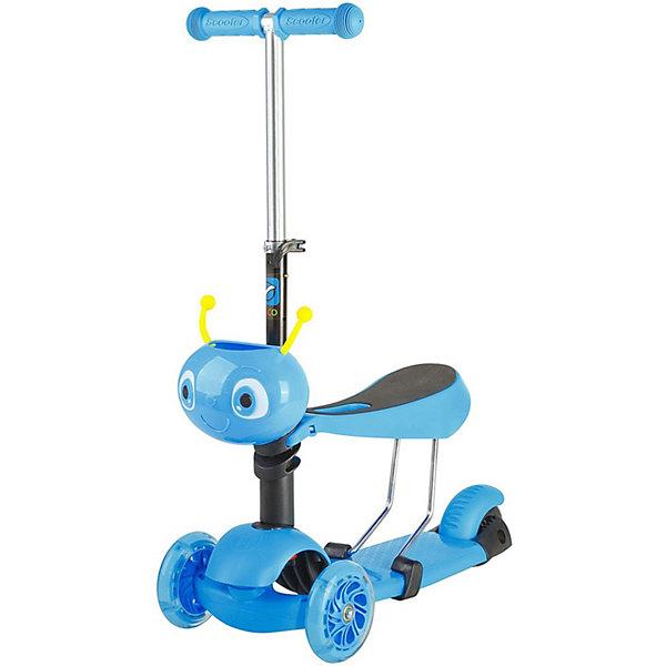 Купить Самокат-кикборд Novatrack Disco-kids трансформер, голубой, Китай, синий, Унисекс