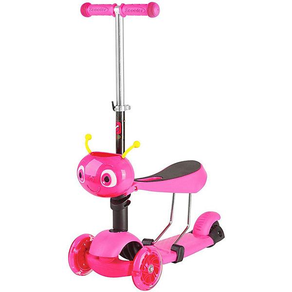 Купить Самокат-кикборд Novatrack Disco-kids трансформер, розовый, Китай, Унисекс