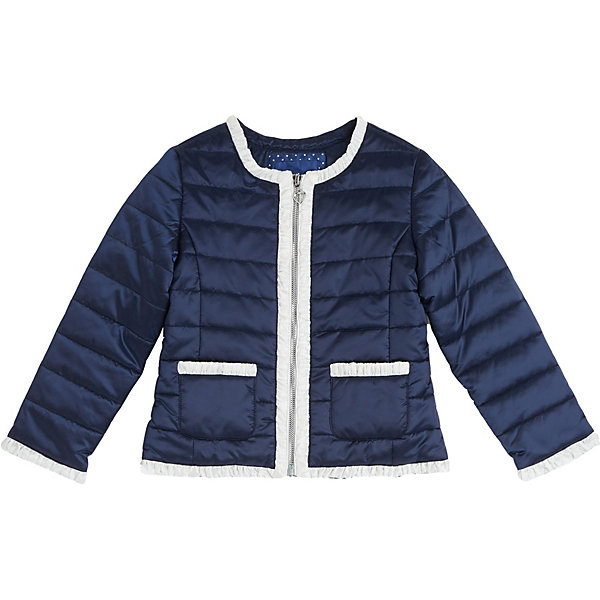 Куртка Original Marines для девочкиВерхняя одежда<br>Характеристики товара:<br><br>• состав ткани: 100% полиамид<br>• подкладка: 100% полиамид/100% полиэстер<br>• утеплитель: 100% полиэстер<br>• сезон: демисезон<br>• застёжка: молния<br>• страна бренда: Италия<br><br>Стёганая куртка с круглой горловиной. Отделана контрастным кантом по краям изделия. Имеет удобный прямой крой, который не будет сковывать движений. Обеспечивает защиту от прохлады на всё время прогулки.