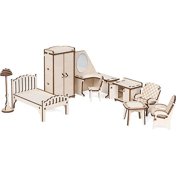 Набор кукольной мебели Спальня для домика Венеция из дереваМебель для кукол<br>Характеристики:<br><br>? материал: дерево<br>? в наборе: шкаф 117*60*35 мм, кровать 65*105*60 мм, тумбочка 47*55*35 мм, трюмо 100*83*65 мм, кресло 55*40*35 мм, стул 50*24*30 мм, стол 35*40*40 мм, торшер 90*25*25 мм, наждачная бумага, клей ПВА, инструкция<br>? количество деталей: 52 шт<br>? страна бренда: Россия<br><br>Реалистичное исполнение мебели позволяет открывать дверцы шкафа и тумбочки за миниатюрные ручки и класть вещи на полки. Все предметы при желании можно раскрасить. Набор для спальни в игрушечном домике позволит разыграть разнообразные сценарии, развить воображение, дизайнерский и художественный вкус.