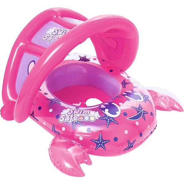 Bestway Лодочка для плавания Крабик, розовая