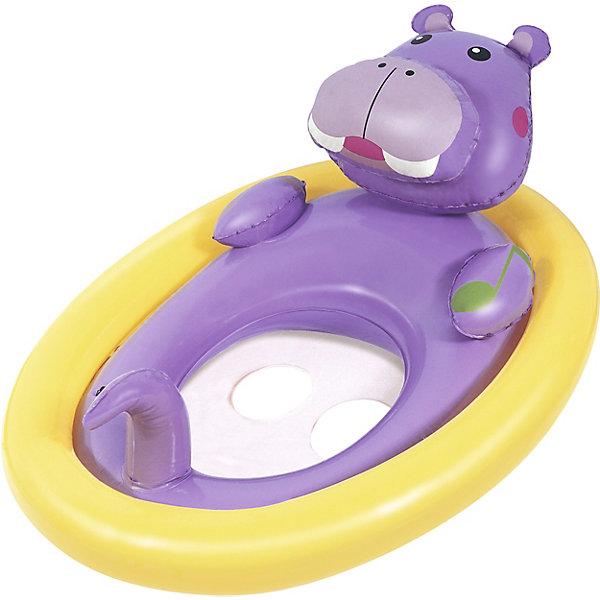 Лодочка для плавания Bestway Животные, фиолетоваяПринадлежности для плавания<br>Характеристики:<br><br>• материал: винил<br>• размер: 81х56 см <br>• надувается с помощью насоса (в комплект не входит)<br>• страна бренда: США<br><br>Надувная лодочка выполнена в виде бегемотика. Удобное сиденье и отверстия для ног позволят ребенку комфортно расположиться, не боясь упасть. Выполнена из прочного материала и легко надувается.
