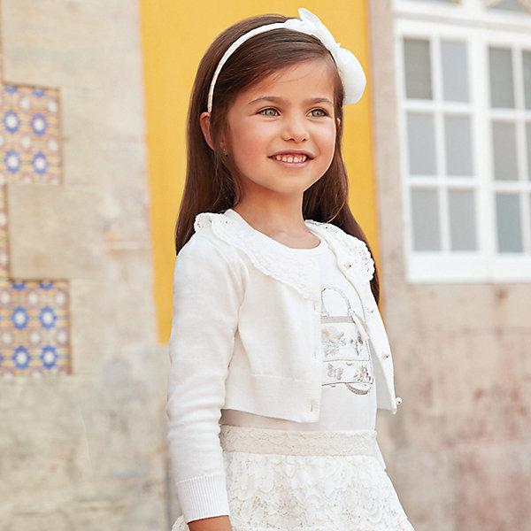 Купить Кардиган Mayoral для девочки, Китай, белый, 116, 134, 110, 128, 104, 98, 92, 122, Женский