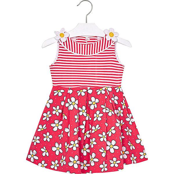 Платье MayoralПовседневные<br>Характеристики товара:<br><br>• состав ткани: 95% хлопок, 5% эластан<br>• сезон: лето<br>• застёжка: пуговицы на спинке<br>• особенности: повседневное<br>• платье без рукавов<br>• страна бренда: Испания<br><br>Платье прилегает к талии. Отрезная юбка в складку украшена цветочным принтом. Верхняя часть в полоску, на плечах объёмные контрастные цветы. Изготовлено из дышащего материала.