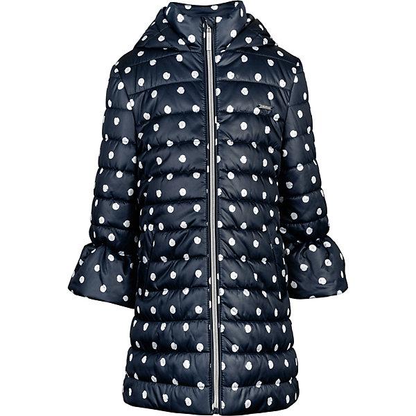 Демисезонная куртка GulliverВерхняя одежда<br>Характеристики товара:<br><br>• состав ткани: 100% нейлон<br>• подкладка: хлопок, полиэстер<br>• утеплитель: 100% полиэстер<br>• сезон: демисезон<br>• застёжка: молния с защитой подбородка<br>• капюшон не отстёгивается<br>• страна бренда: Россия<br><br>Стёганое пальто классического прямого кроя комфортно при носке, не стесняет движений и обеспечивает защиту от ветра и холодной погоды. Шея хорошо прикрыта высоким воротником-стойкой. Низ рукавов выполнен в виде фонариков. Украшено рисунком в неровный горошек.