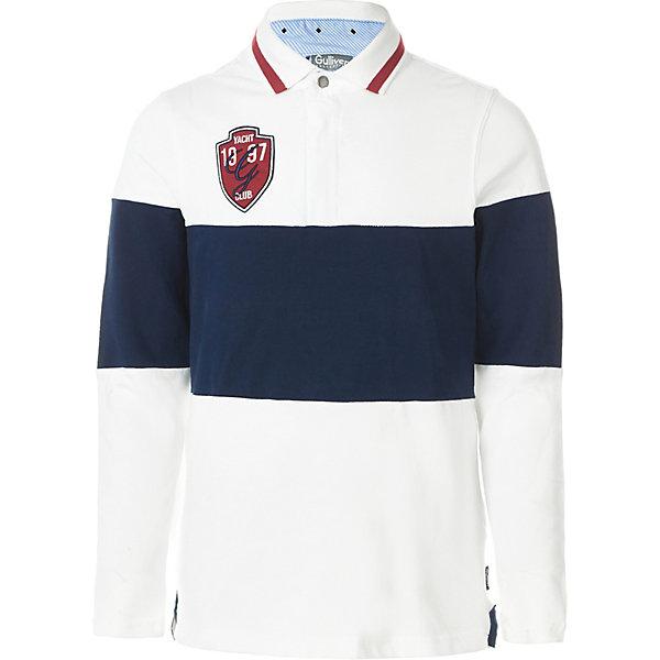 Рубашка поло Gulliver для мальчикаФутболки с длинным рукавом<br>Характеристики товара:<br><br>• состав ткани: 95% хлопок, 5% эластан<br>• сезон: демисезон<br>• застёжка: пуговица<br>• страна бренда: Россия<br><br>Рубашка декорирована контрастными вставками, надписью с эффектом потрескавшейся краски на спинке. Классический отложной воротник поло. Комфортная посадка обеспечивается за счёт хорошо тянущейся ткани. Обладает дышащими свойствами.