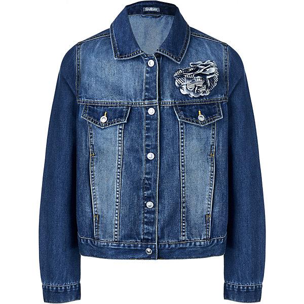 Куртка джинсовая Gulliver для девочкиДжинсовая одежда<br>Характеристики товара:<br><br>• состав ткани: 73% хлопок, 22% полиэстер, 5% вискоза <br>• сезон: демисезон<br>• застёжка: пуговицы<br>• особенности: джинсовая<br>• манжеты рукавов на пуговицах<br>• страна бренда: Россия<br><br>Ветровка продуманного кроя обеспечивает комфортную посадку и удобство при носке. Отложной классический воротник. Дополнена эффектом потёртой ткани. Внутри имеется петелька для подвешивания. На груди украшена объёмным контрастным цветком, который при желании можно снять.