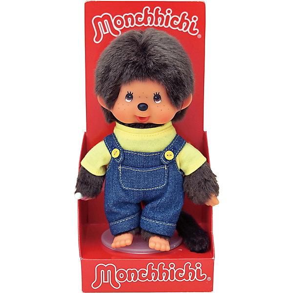 Monchhichi Мягкая игрушка Мончичи, мальчик в комбинезоне и желтой футболке, 20 см