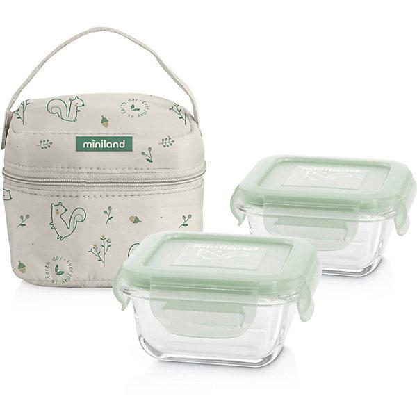 Купить Термосумка Miniland Pack-2-Go Naturround Chip со стеклянными контейнерами, Китай, мятный/белый, Унисекс