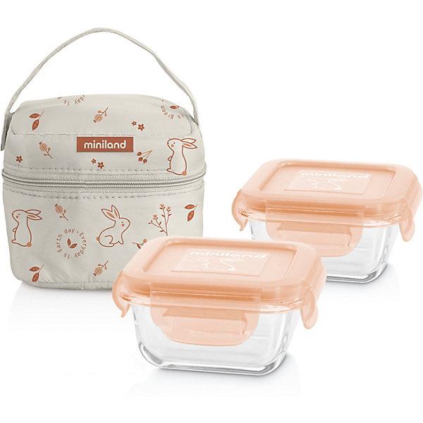 Купить Термосумка Miniland Pack-2-Go Naturround Bunny со стеклянными контейнерами, Китай, apricot/weiß, Унисекс