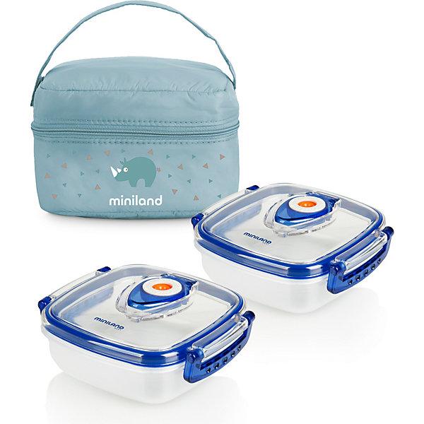 Термосумка Miniland Pack-2-Go HermifFresh с вакуумными контейнерами, голубая, Корея, синий, Мужской  - купить со скидкой