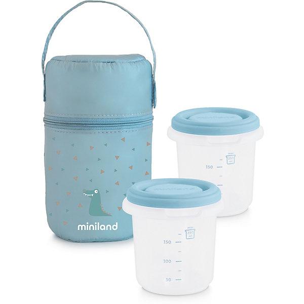 цена на Miniland Термосумка Miniland Pack-2-Go HermiSized с вакуумными контейнерами, голубая