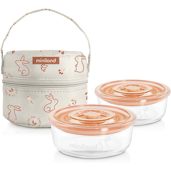цена на Miniland Термосумка Miniland Pack-2-Go Naturround Bunny со стеклянными контейнерами