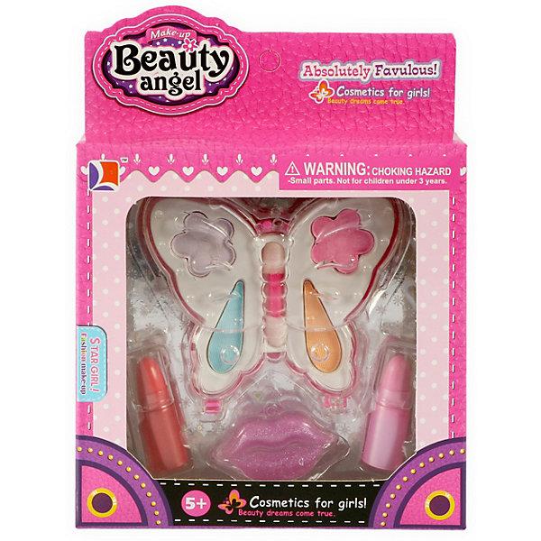 Детская декоративная косметика Beauty Angel Бабочка-1, 8 предметовКосметика<br>Характеристики товара:<br><br>• тип: декоративная косметика<br>• материал: косметические средства, пластик<br>• упаковка: картонная коробка блистерного типа<br>• комплектация: тени для век (4 оттенка), блеск для губ, губная помада, кисточка<br>• страна бренда: Китай<br><br>Карманный набор сделан в виде бабочки, на крылышках которой расположена косметика, а посередине есть специальная кисточка для ее нанесения. Яркий футляр имеет небольшие размеры