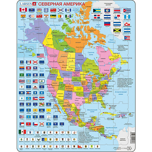 Larsen Пазл Северная Америка, 70 деталей