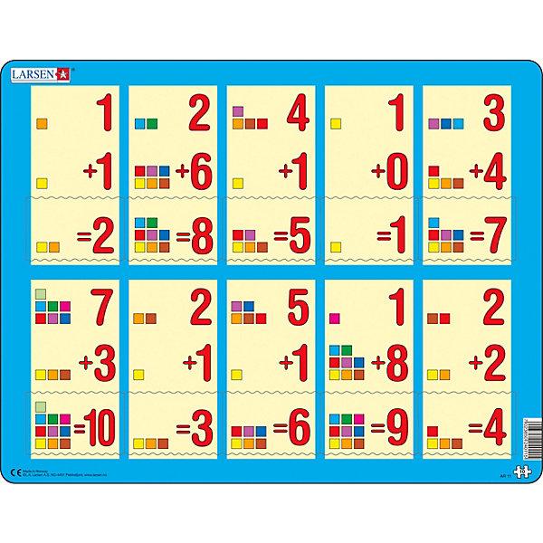 Пазл Larsen СложениеПазлы для малышей<br>Характеристики:<br><br>• количество элементов: 10<br>• размер собранного пазла: 36,5х28,5 см<br>• материал: картон<br>• страна бренда: Норвегия<br><br>Красочный пазл с оригинальной формой элементов отлично тренирует логическое мышление, воображение, мелкую моторику и помогает познакомиться с принципами сложения. В процессе сборки необходимо соотносить пример с правильным ответом. Изготовлен из плотного материала и расположен на подложке.