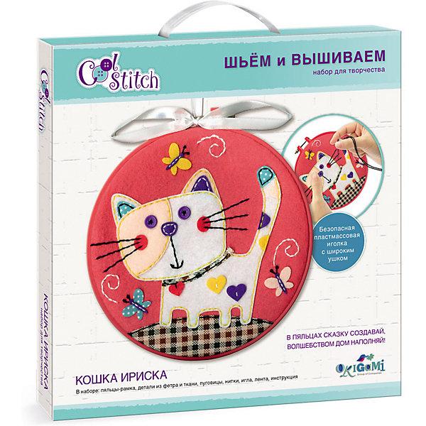 Набор для шитья и вышивания Origami Кошка ИрискаНаборы для шитья<br>Характеристики:<br><br>• материал: текстиль, пластик<br>• в наборе: пальцы-рамка, детали из фетра и ткани, пуговицы, нитки, игла, лента, инструкция <br>• страна бренда: Россия<br><br>В наборе есть все необходимое для создания красочной аппликации. Детали нашиваются на полотно благодаря подготовленным прорезям, образуя изображение кошки. Безопасная пластиковая игла имеет широкое ушко. Готовую поделку можно использовать в качестве украшения интерьера, подвесив ее за ленточку. Занятия с набором развивают мелку моторику, навыки рукоделия и усидчивость.