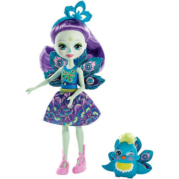Mattel Кукла с любимой зверюшкой Enchantimals, Пэттер Пикок и Флэп